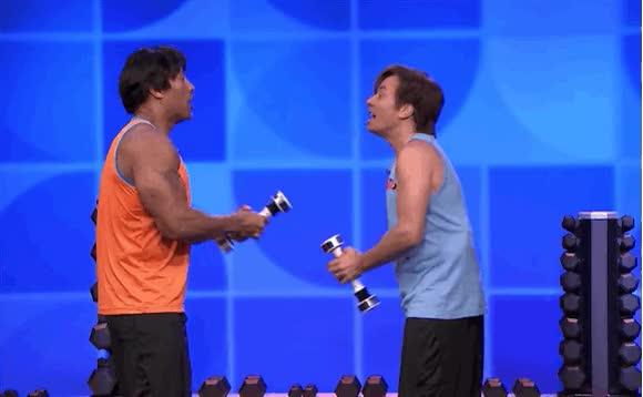 Watch and share Jimmy Fallon Dwayne Johnson Shake Weight Funy GIFs on Gfycat
