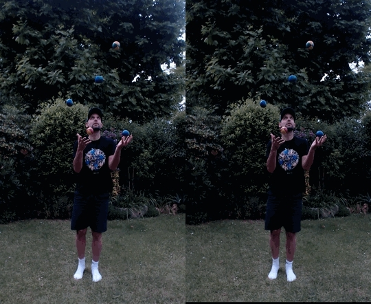 juggling, synchronization, Juggling synchronized crossview GIFs