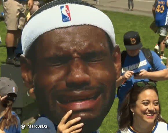 01ecbf9fbbde Warriors fan with a LeBron James crying cut out face. GIF by MarcusD  ( -marcusd-)