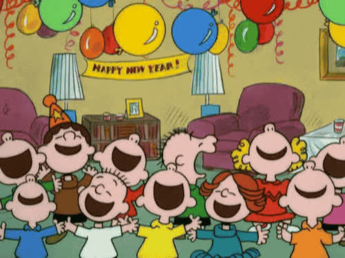 celebrate, charlie brown, happy new year, new year, new years, new years eve, party, peanuts, yay, Charlie Brown - Happy New Year GIFs