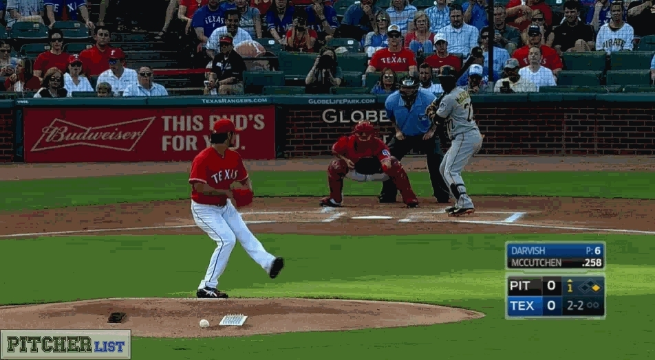 baseball, texasrangers, Yu Darvish strikes out Andrew McCutchen with a nasty 82 mph slider/curve for his first MLB strikeout since 2014 (reddit) GIFs