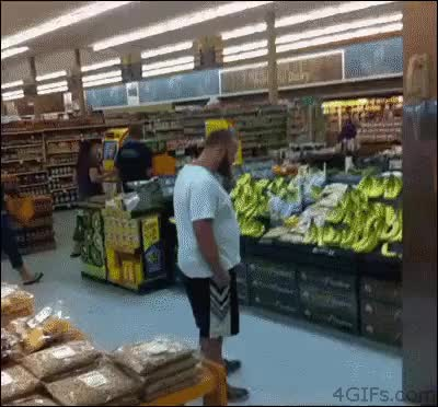 Watch and share Xcmycl Grocery Store Banana Kick GIFs on Gfycat