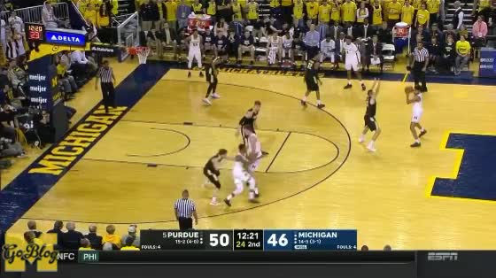 Watch Poole Draws 3PT Foul GIF by MGoBlog (@mgoblog) on Gfycat. Discover more 2017-18, Basketball, Crossover, Jordan Poole, Michigan, Purdue GIFs on Gfycat