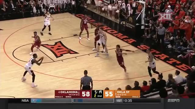 Watch and share Waters Solomon Oklahoma Vs Oklahoma State Men's Basketball Highlights GIFs by Pistols Firing on Gfycat
