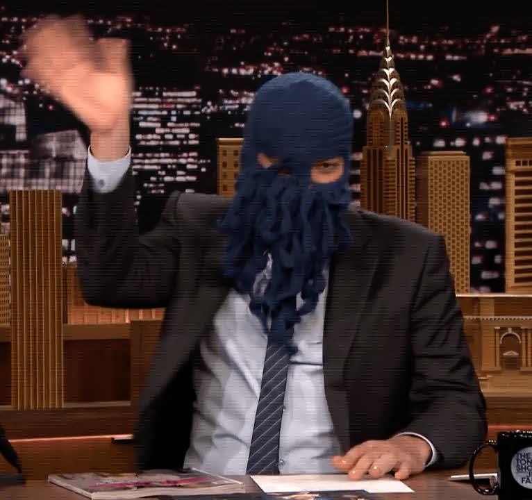 hello, hey, hi, jimmy fallon, ski mask, tonight show, wave, Jimmy Fallon Hi GIFs