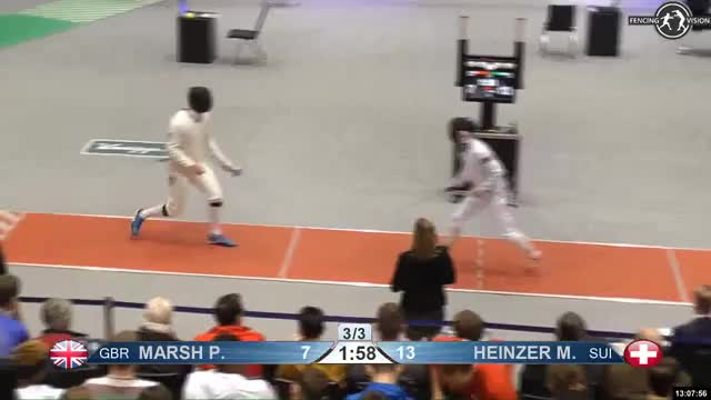 Watch MARSH P 8 GIF by Scott Dubinsky (@fencingdatabase) on Gfycat. Discover more gender: male, leftname: MARSH P, leftscore: 8, rightname: i HEINZER M, rightscore: 14, time: 00011837, touch: double, tournament: heidenheim2019, weapon: epee GIFs on Gfycat
