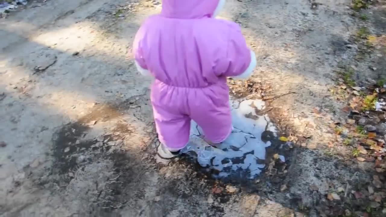 cute, first, funny, Cute Baby first walk on the ice GIFs