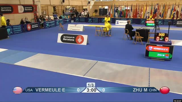 Watch JACQUES A V 1 GIF by Scott Dubinsky (@fencingdatabase) on Gfycat. Discover more gender: female, leftname: JACQUES A V, leftscore: 1, rightname: KRIEGER A, rightscore: 4, time: 00003743, touch: double, tournament: barcelona2019, weapon: epee GIFs on Gfycat