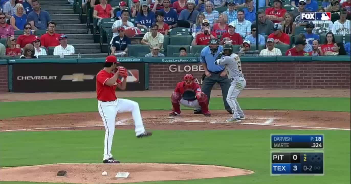 baseball, texasrangers, [#2, Marte, 95 mph fastball]()  * Watch Wilson's glove. (reddit) GIFs