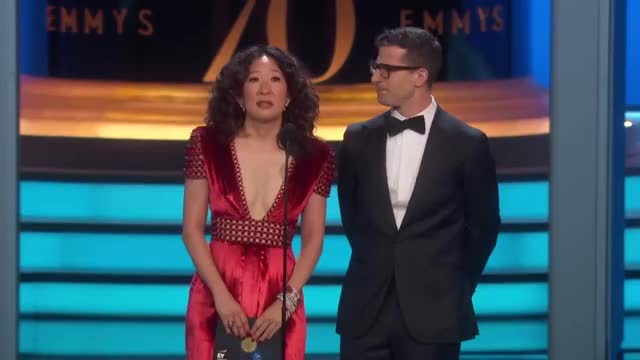 Watch 70th Emmy Awards Andy Samberg and Sandra Oh GIF on Gfycat. Discover more 2018, Show, celebs, sandra oh GIFs on Gfycat