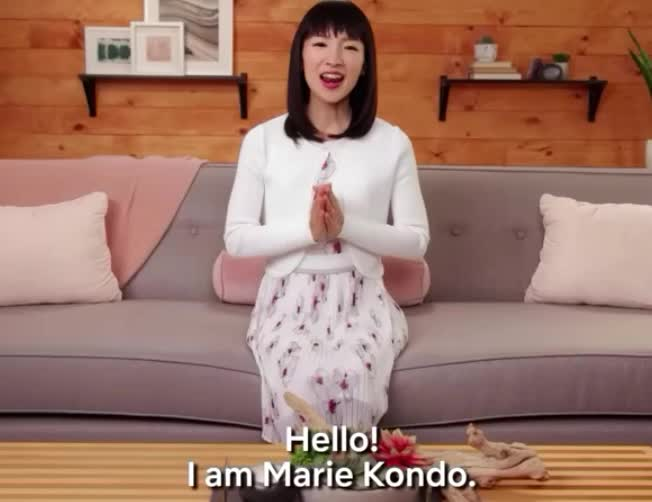 away, clean, closet, couch, cute, fix, hello, japanese, kondo, marie, mess, netflix, organize, room, smile, sweet, throw, tidying, up, Marie Kondo | Tidying Up | Netflix GIFs