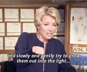 Watch Emma Thompson GIF on Gfycat. Discover more Saving Mr Banks, emma thompson, i cant stop crying, interview, its alright, mary poppins, p.l. travers, smb, the world is safe really, this makes me cry, walt disney GIFs on Gfycat