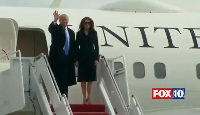 Watch and share FULL COVERAGE: Trump Lands In D.C. On Official White House Plane For Inauguration GIFs on Gfycat