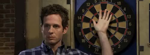 """Watch """"You flinch, you lose."""" GIF on Gfycat. Discover more Chardee Macdennis, DEE WE'LL BE TAKING THIS CARD, It's always sunny in philadelphia, dennis reynolds, glenn howerton, oh no i figured out better gifs, s7e7 GIFs on Gfycat"""