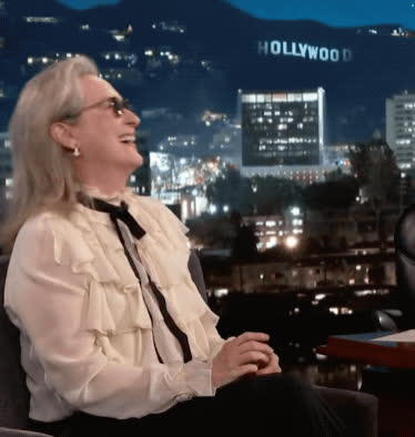 blush, embarrassed, funny, jimmy kimmel live, lol, meryl streep, Meryl Streep Embarrassed GIFs