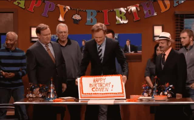 Watch this birthday GIF by GIF Queen (@ioanna) on Gfycat. Discover more annoyed, bday, birthday, cake, conan, flashback, funny, furious, happy, happy birthday, lol, mad, o'brien, office, on, party, pissed, surprise, throw, you GIFs on Gfycat