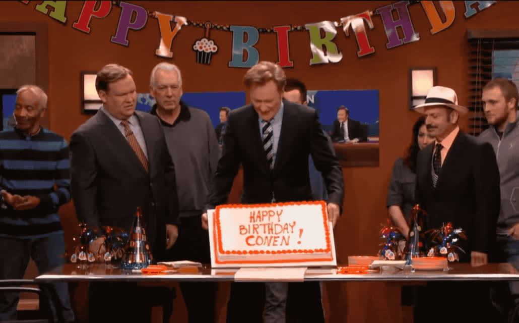 annoyed, bday, birthday, cake, conan, flashback, funny, furious, happy, happy birthday, lol, mad, o'brien, office, on, party, pissed, surprise, throw, you, Conan is mad on his birthday GIFs