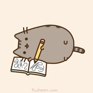 Watch and share Pusheen Writing Book Animated GIFs on Gfycat