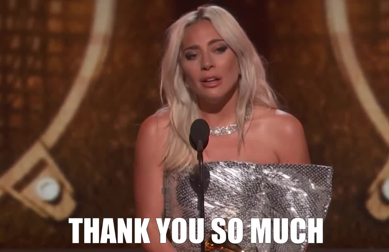 2019, acceptance, best, cry, duo, emotional, gaga, gracias, grammys, group, lady, performance, pop, proud, speech, thank, thanks, win, winner, you, Lady Gaga Wins Best Pop Duo Or Group Performance 2019 GRAMMYs GIFs