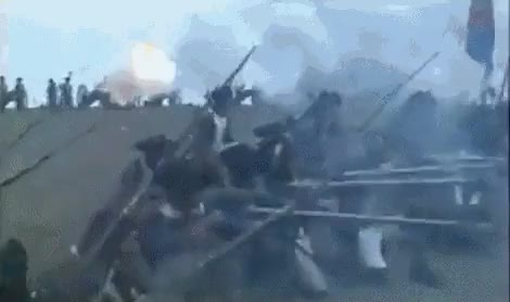 Watch and share French Revolutionary Soldiers Bombarding Attacking Prussians GIFs by nurdbot on Gfycat