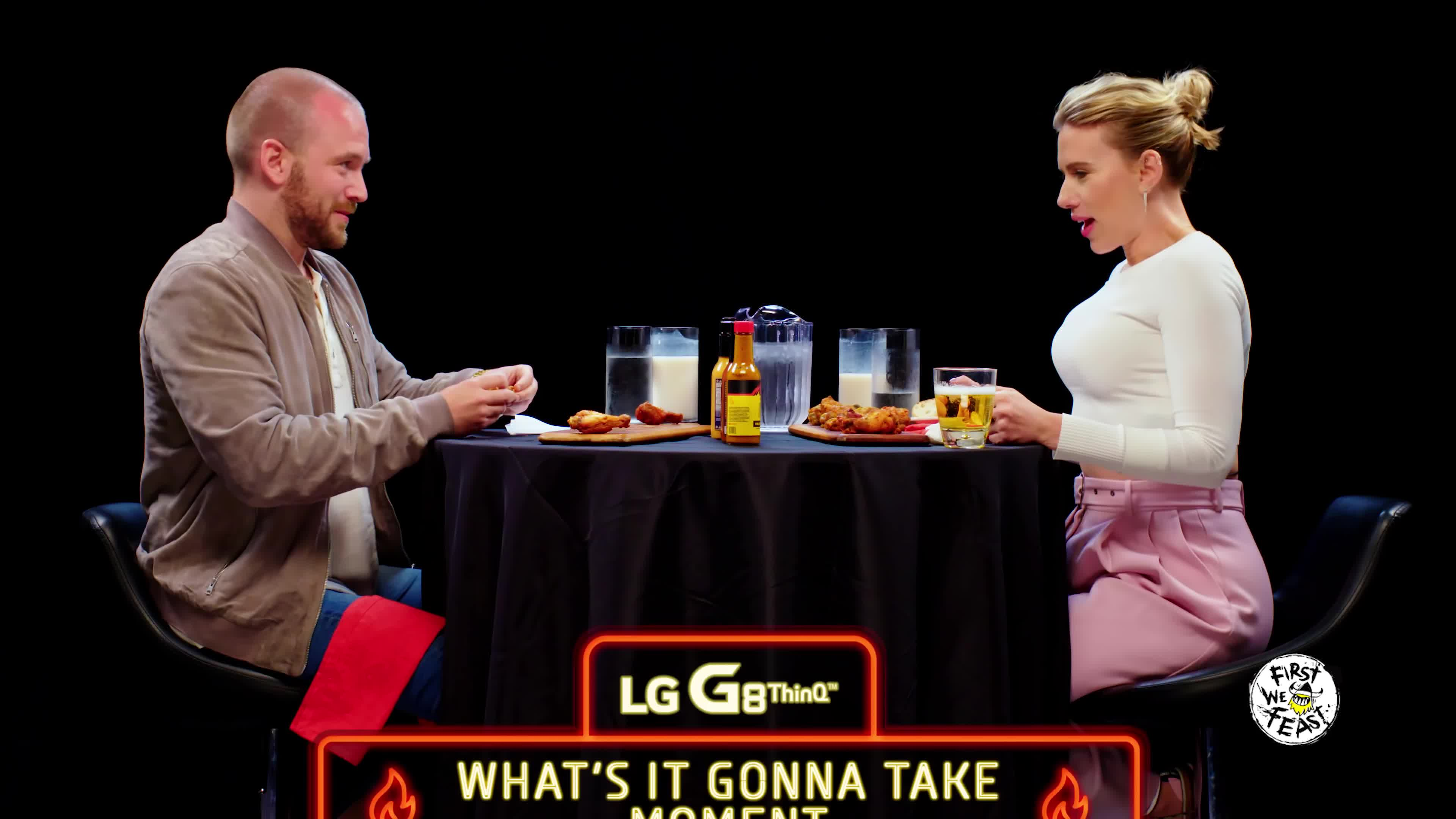 5d82293f803c Scarlett Johansson Tries To Not Spoil Avengers While Eating Spicy Wings