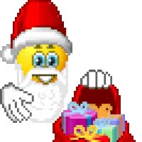 Watch and share Santa Claus Smiley Pulls Christmas Presents For Bag - Animated GIFs on Gfycat
