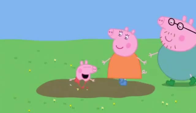 Watch and share Peppa Pig Jumping Up And Down In Muddy Puddles GIFs on Gfycat
