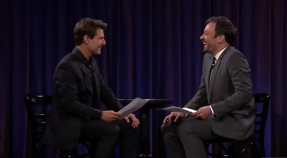 Jimmy Fallon, Tom Cruise, jimmy fallon, tom cruise, Tom Cruise and Jimmy Fallon head bump GIFs