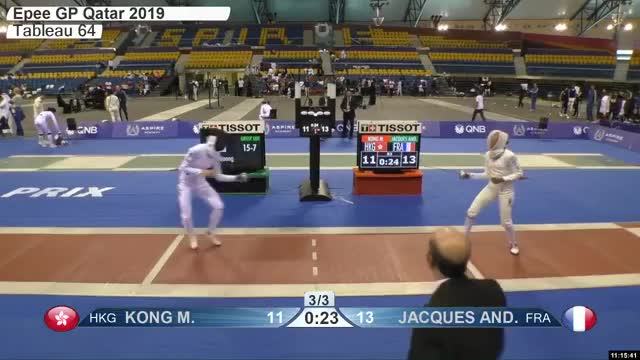 Watch KONG M 12 GIF by Scott Dubinsky (@fencingdatabase) on Gfycat. Discover more gender:, leftname: KONG M, leftscore: 12, rightname: IACQUES AND, rightscore: 13, time: 00010217, touch: left, tournament: doha2019, weapon: epee GIFs on Gfycat