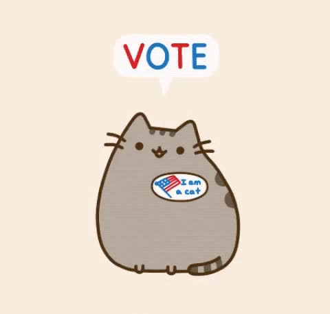 Watch and share Pusheen GIFs and Vote GIFs by Reactions on Gfycat