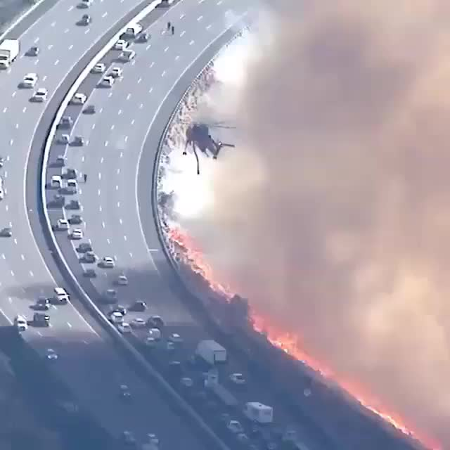 california, fire, Freeway in California fire GIFs