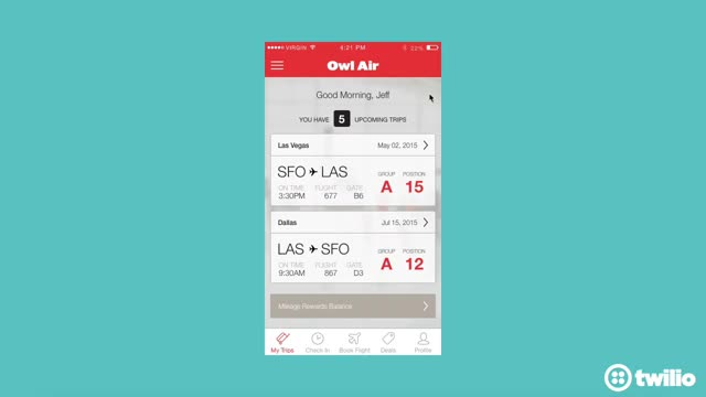 Watch Twilio Owl Air Demo GIF by @fabianneimpekable on Gfycat. Discover more airline, mobile app, technology GIFs on Gfycat