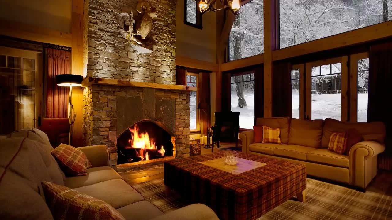 chill, christmas, cozy, fireplace, snow, snowfall, window, winter, 5 HOURS Beautiful Snow with Fireplace Sound - Sleep, Relax, Study GIFs