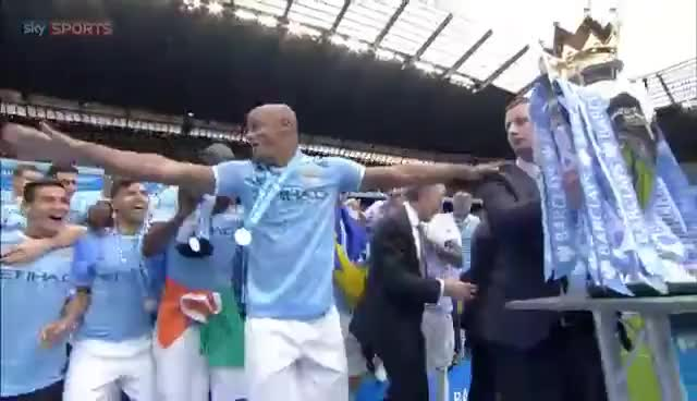 Watch and share Manchester City Lift The Premier League Trophy After Being Crowned Champions GIFs on Gfycat