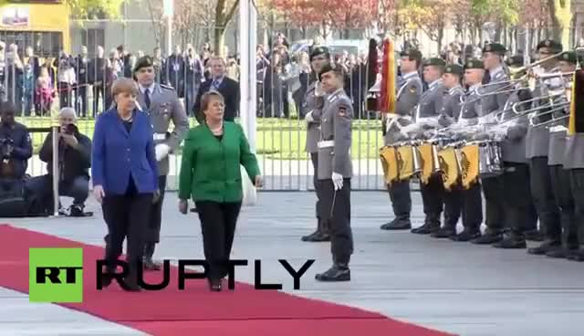 Watch and share Germany: Watch The German Army Salute Merkel And Chilean Leader GIFs on Gfycat