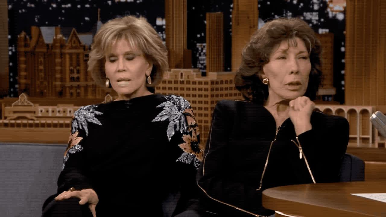 fallon, fallon tonight, fonda, frankie, god, grace, grace and frankie, jane, jimmy, lily, my, oh, omg, shock, shocked, show, the tonight show, tomlin, tonight, vibrator, Jane Fonda and Lily Tomlin - OMG GIFs