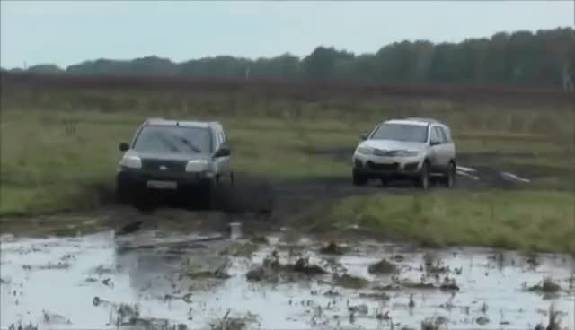 Watch and share Off-road 4x4 Nissan X-Trail Vs Renault Duster Vs Chevy Niva Vs Hover GIFs on Gfycat