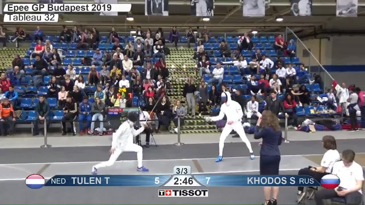 gender:, leftname: TULEN T, leftscore: 6, madden, rightname: KHODOS S, rightscore: 7, time: 00011999, touch: left, tournament: budapest2019, weapon: epee, TULEN T 6 GIFs