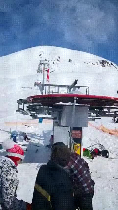 Watch and share Skiing Lift Goes Crazy GIFs on Gfycat