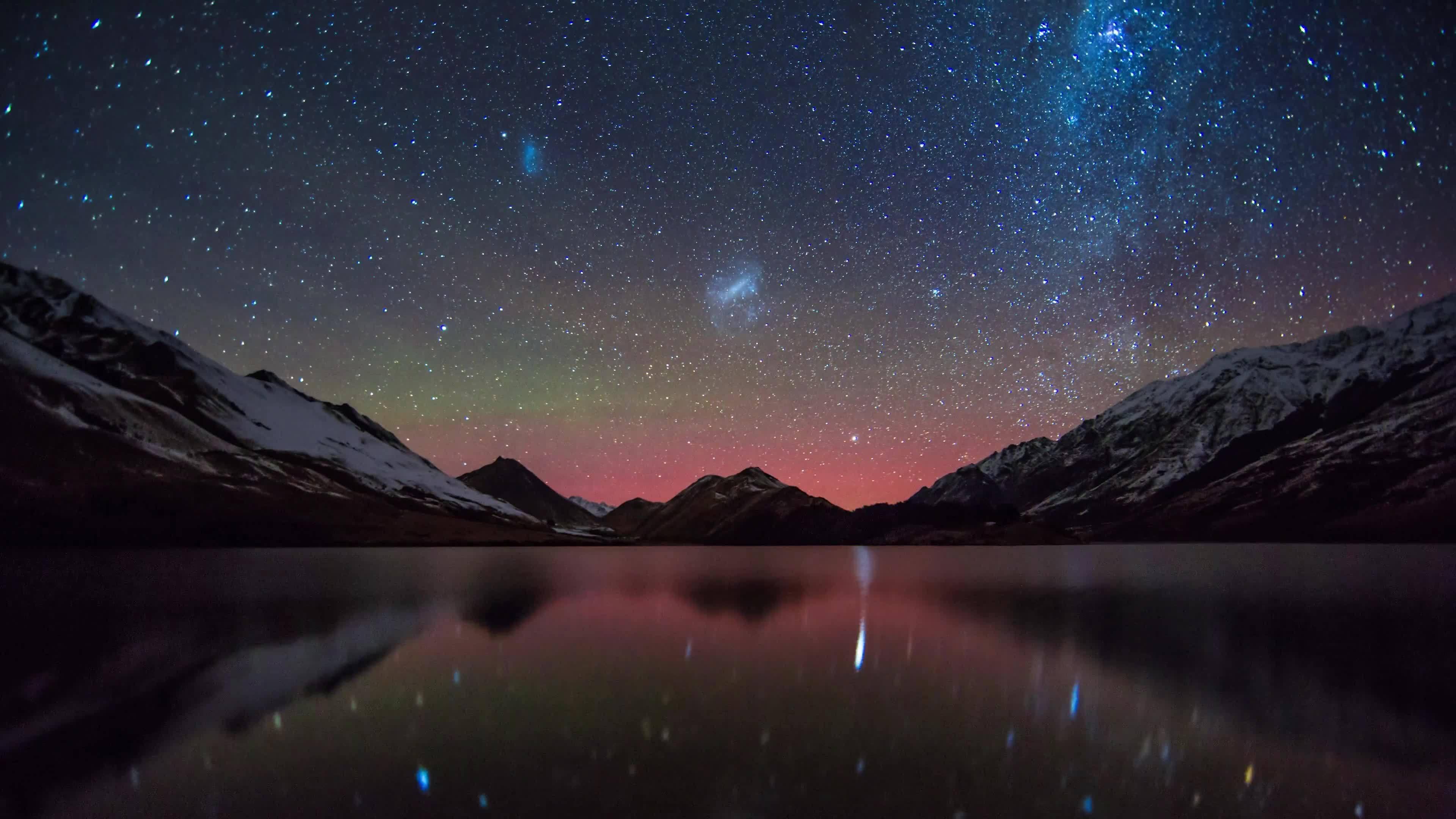 earthgifs, queenstown aurora, queenstown photographer, Moke Lake, Queenstown - Aurora & Milky Way timelapse - 4K GIFs