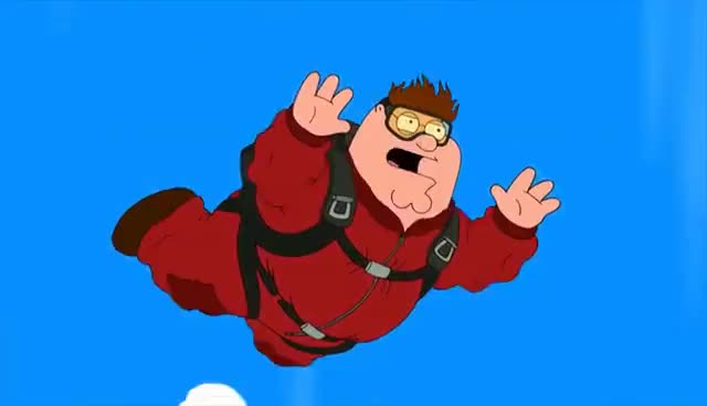 dive, diving, family guy, skydive, skydiving, Family Guy-Peter's Skydiving Accident GIFs
