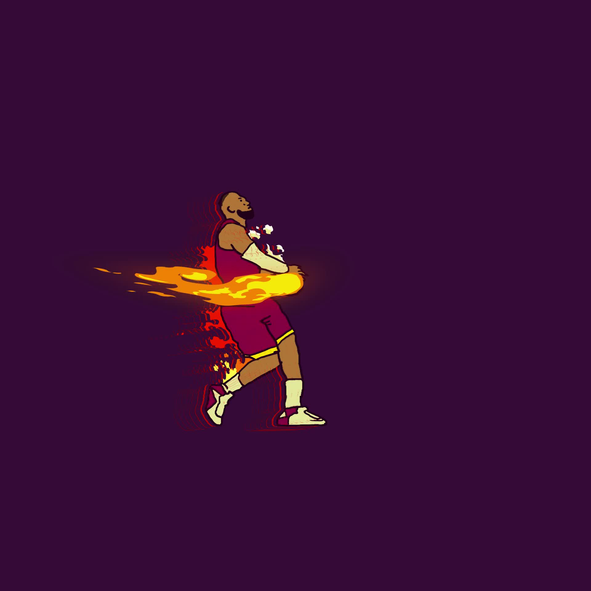 animation, cavaliers, fire, jake mathew, lebron james, lit, slam dunk, Lebron James On Fire GIFs