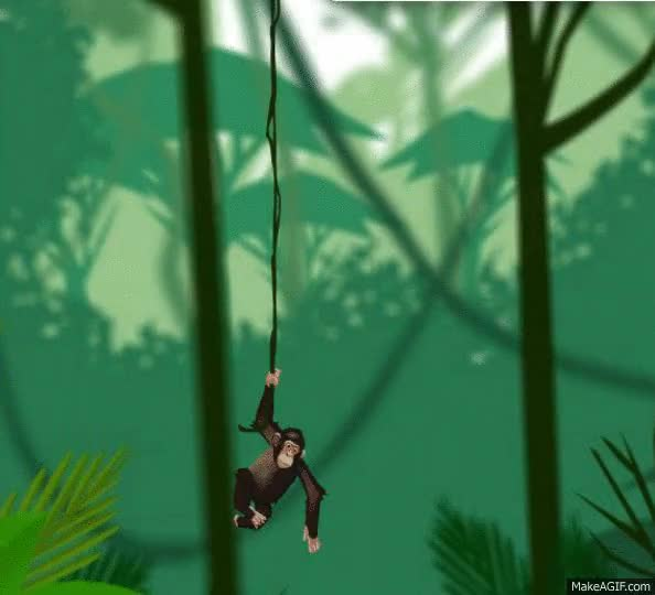 Watch and share Chiki The Dumb Monkey Swings On A Vine GIFs on Gfycat