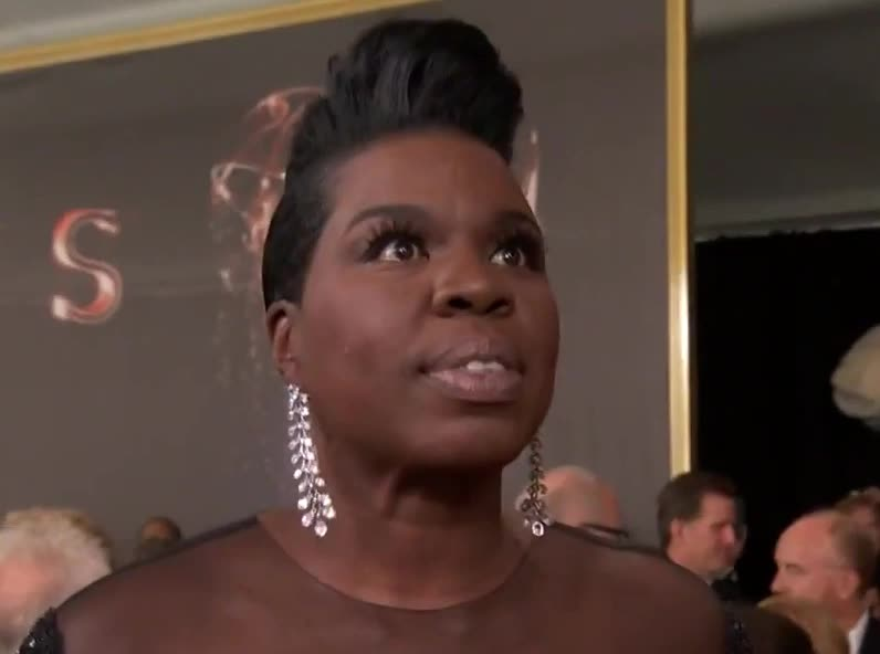 adios, bye, carpet, cu, cute, emmys, eye, farewell, funny, goodbye, hello, hey, hi, jones, later, leslie, red, see, snl, you, Leslie Jones Talks Emmy Nomination GIFs