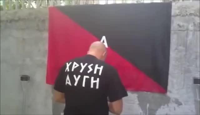 Watch Greek Nationalist Burns Antifa Flag GIF on Gfycat. Discover more antifa, greece, world GIFs on Gfycat