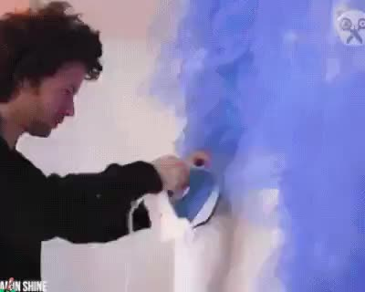 How he irons out his art - gif