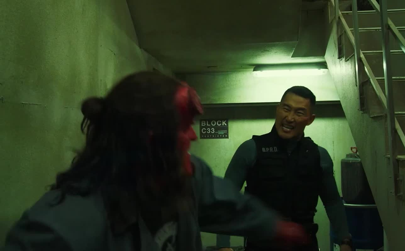 daniel dae kim, dark horse, dark horse comics, david harbour, fight, hellboy, hellboy 2019, hellboy movie, punch, superhero, superheroes, surprise, Hellboy Fist Punch GIFs
