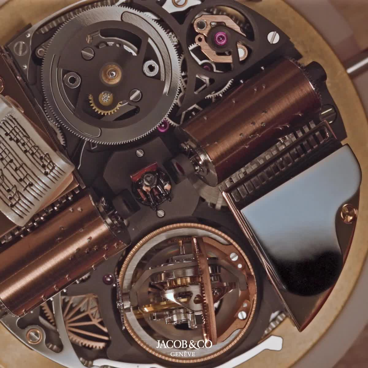 Godfather, Jacob & Co, Jacob&Co, Monochrome Watches, Opera, automaton, chiming watch, high-end watch, tourbillon, triple axis tourbillon, Jacob & Co Opera Godfather Edition GIFs