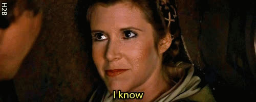 carrie fisher, i know, return of the jedi, star wars, star wars return of the jedi, Princess Leia, Star Wars, Return of the Jedi GIF GIFs