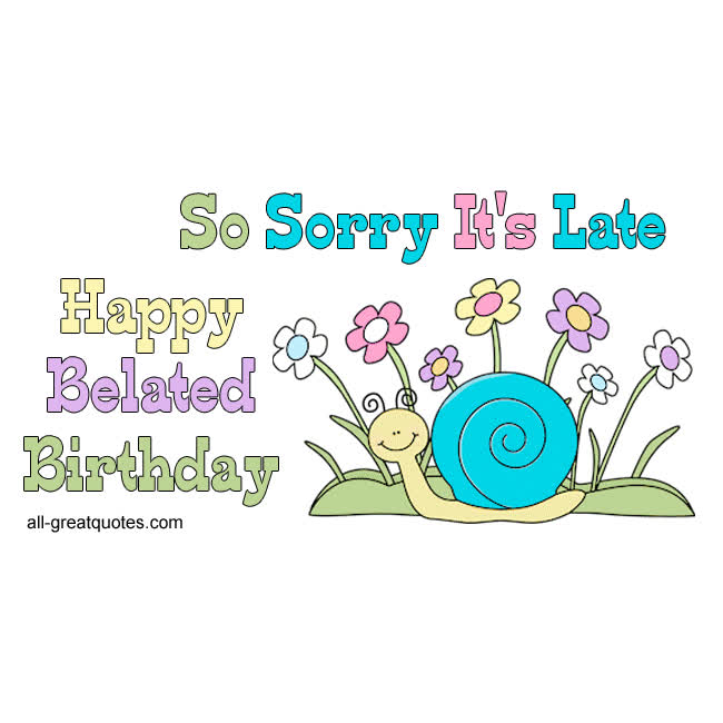 Happy Belated Birthday Cute Snail With Flowers Image Free Card Facebook GIF